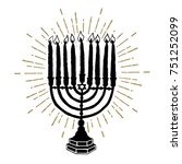 hand drawn hanukkah menorah... | Shutterstock .eps vector #751252099