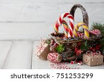 christmas wicker basket with... | Shutterstock . vector #751253299