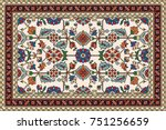 colorful oriental mosaic rug... | Shutterstock .eps vector #751256659