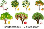 set of different fruit trees... | Shutterstock .eps vector #751261024