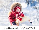sled and snow fun for kids.... | Shutterstock . vector #751264921