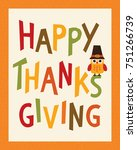 happy thanksgiving day card ... | Shutterstock .eps vector #751266739