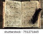 open book with lunar magic... | Shutterstock . vector #751271665