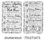 open diary with hand written... | Shutterstock .eps vector #751271671