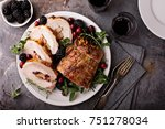 roasted pork loin stuffed with... | Shutterstock . vector #751278034