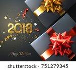 2018. happy new year. gift box... | Shutterstock .eps vector #751279345