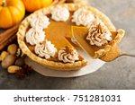 sweet pumpkin pie decorated... | Shutterstock . vector #751281031