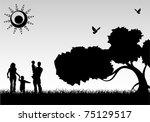 silhouette family on background ... | Shutterstock .eps vector #75129517