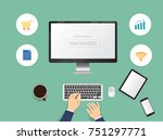 hands typing text on the... | Shutterstock .eps vector #751297771