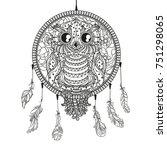 dreamcatcher. owl. tattoo art ... | Shutterstock .eps vector #751298065