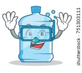 diving gallon character cartoon ... | Shutterstock .eps vector #751303111