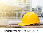 the yellow safety helmet and... | Shutterstock . vector #751310614