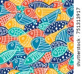 colorful fish. seamless pattern ... | Shutterstock .eps vector #751313917