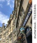 Small photo of EDINBURGH, SCOTLAND/UNITED KINGDOM â?? AUGUST 10, 2017: Scotsman's Lounge and architecture in Edinburgh, Capital of Scotland, United Kingdom