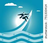 businessman catches a rising...   Shutterstock .eps vector #751333414