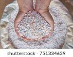 close up farmer woman hand hold ... | Shutterstock . vector #751334629