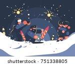 guys launching fireworks. new... | Shutterstock .eps vector #751338805
