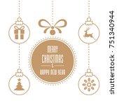 various hanging christmas... | Shutterstock .eps vector #751340944