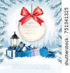 christmas presents with a gift... | Shutterstock .eps vector #751341325