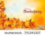 happy thanksgiving background... | Shutterstock .eps vector #751341337