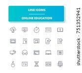 20. line icons set. online...