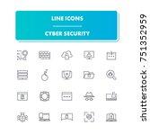 23. line icons set. cyber... | Shutterstock .eps vector #751352959