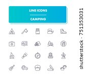 25. line icons set. camping...