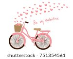 bicycle with hearts on... | Shutterstock .eps vector #751354561