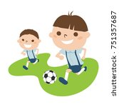 illustrations of boys playing... | Shutterstock .eps vector #751357687