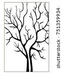 double nake tree silhouette...   Shutterstock .eps vector #751359934