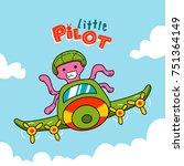 octopus pilot flying a plane ...   Shutterstock .eps vector #751364149