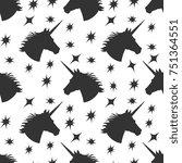 black unicorn silhouette with... | Shutterstock .eps vector #751364551