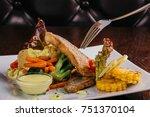 wine and wine snack set. slow... | Shutterstock . vector #751370104