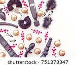 Stock photo christmas or new year background with a variety of sex toys golden balls and red berries 751373347