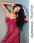 elegant mulatto girl with long...   Shutterstock . vector #75137725
