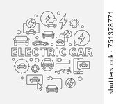 electric car round illustration.... | Shutterstock .eps vector #751378771