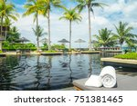 Hotel Pool Palm Tree Sunbed...