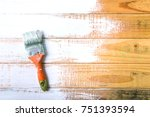 paint brush and painted on wood ... | Shutterstock . vector #751393594