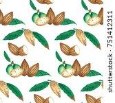 watercolor illustration almond... | Shutterstock . vector #751412311
