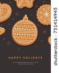 christmas card with gingerbread ... | Shutterstock .eps vector #751414945