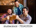 three young men in casual... | Shutterstock . vector #751415524