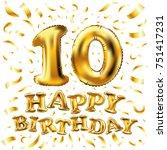 raster copy happy birthday gold ...   Shutterstock . vector #751417231