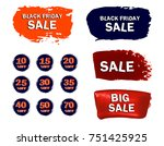 set of sale stickers with hand... | Shutterstock .eps vector #751425925