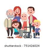 happy big family. grandmother... | Shutterstock . vector #751426024