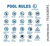 symbols set for swimming pool.   Shutterstock .eps vector #751428091