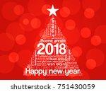 2018 happy new year in... | Shutterstock .eps vector #751430059