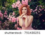 lovely young woman in a pink... | Shutterstock . vector #751430251