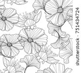 linear floral background ... | Shutterstock .eps vector #751434724