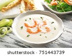 tasty cream soup with fresh... | Shutterstock . vector #751443739