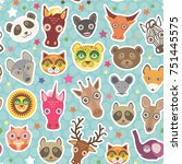 funny animals seamless pattern... | Shutterstock . vector #751445575
